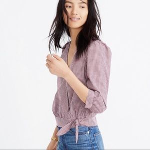 Madewell Wrap Top in Gingham Check Red Small